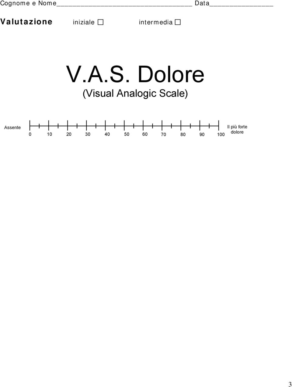 Dolore (Visual Analogic Scale)