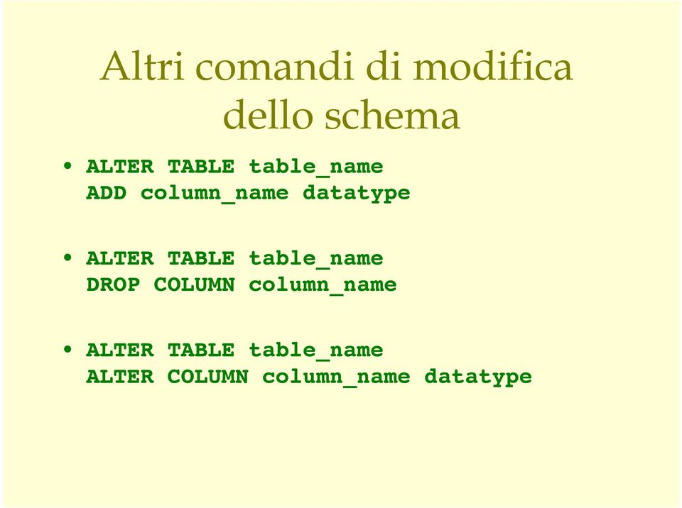 Alter table change column type db2 change column type of - Sql server alter table modify column ...