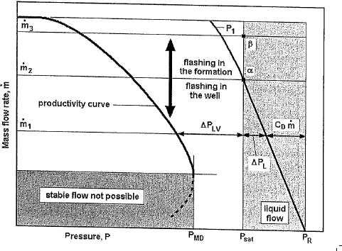 Typical well productivity curve, mass flow