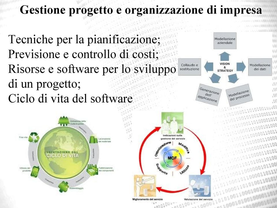 controllo di costi; Risorse e software per lo