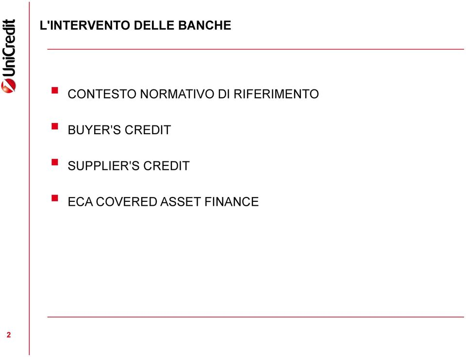 RIFERIMENTO BUYER'S CREDIT