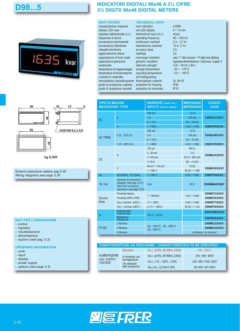 30 Wiring diagrams see page 5.30 DTI PER L ORDINZIONE opzioni (vedi pag. 5.3) ORDERING INFORMTION options (see page 5.