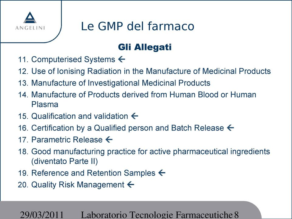 Manufacture of Products derived from Human Blood or Human Plasma 15. Qualification and validation 16.
