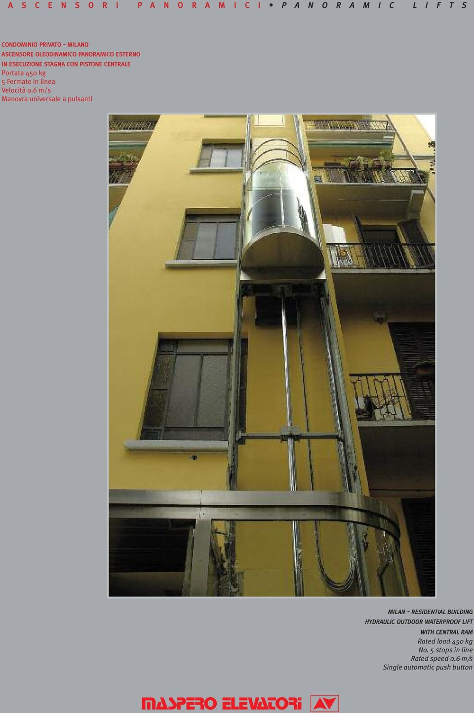 6 m/s Manovra universale a pulsanti MILAN - RESIDENTIAL BUILDING HYDRAULIC OUTDOOR
