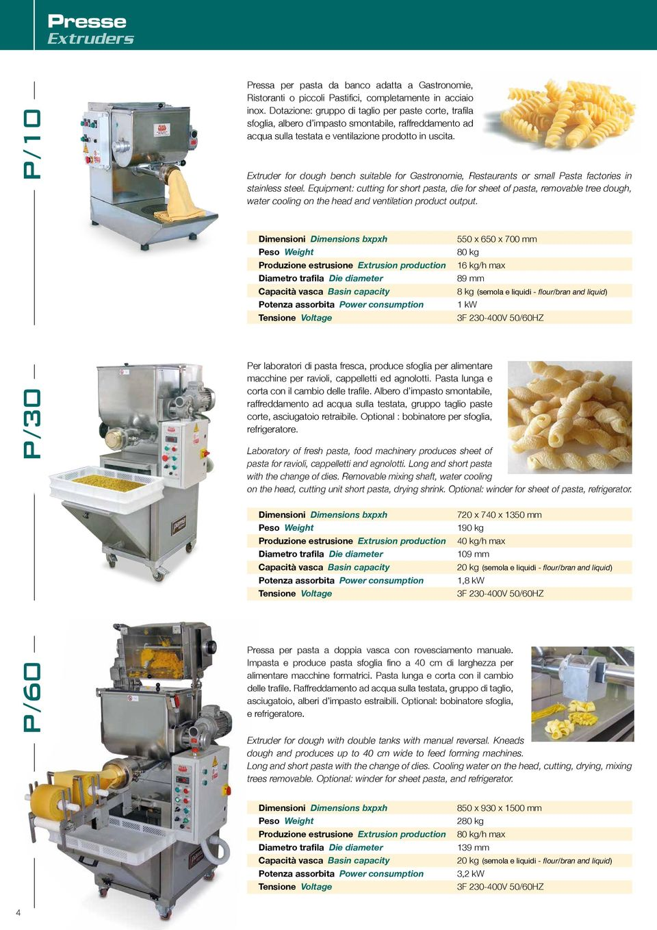 Extruder for dough bench suitable for Gastronomie, Restaurants or small Pasta factories in stainless steel.