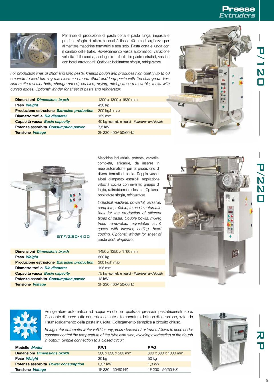 Optional: bobinatore sfoglia, refrigeratore. For production lines of short and long pasta, kneads dough and produces high quality up to 40 cm wide to feed forming machines and more.