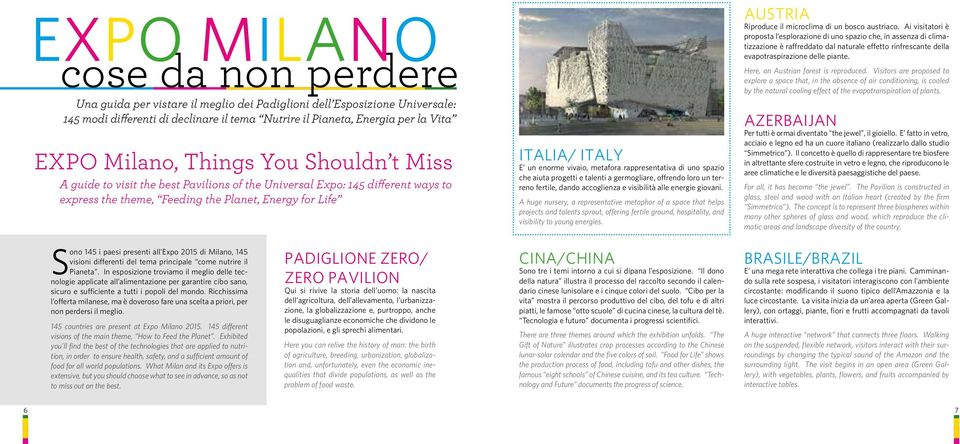 all Expo 2015 di Milano, 145 visioni differenti del tema principale come nutrire il Pianeta.