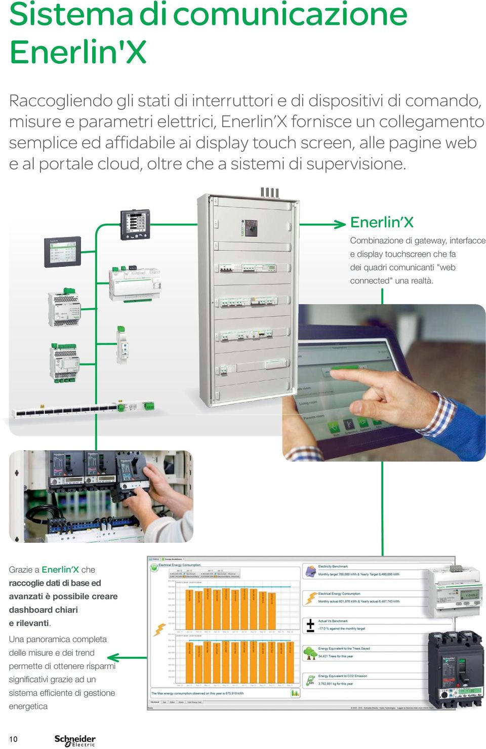 "Enerlin X Combinazione di gateway, interfacce e display touchscreen che fa dei quadri comunicanti ""web connected"" una realtà."