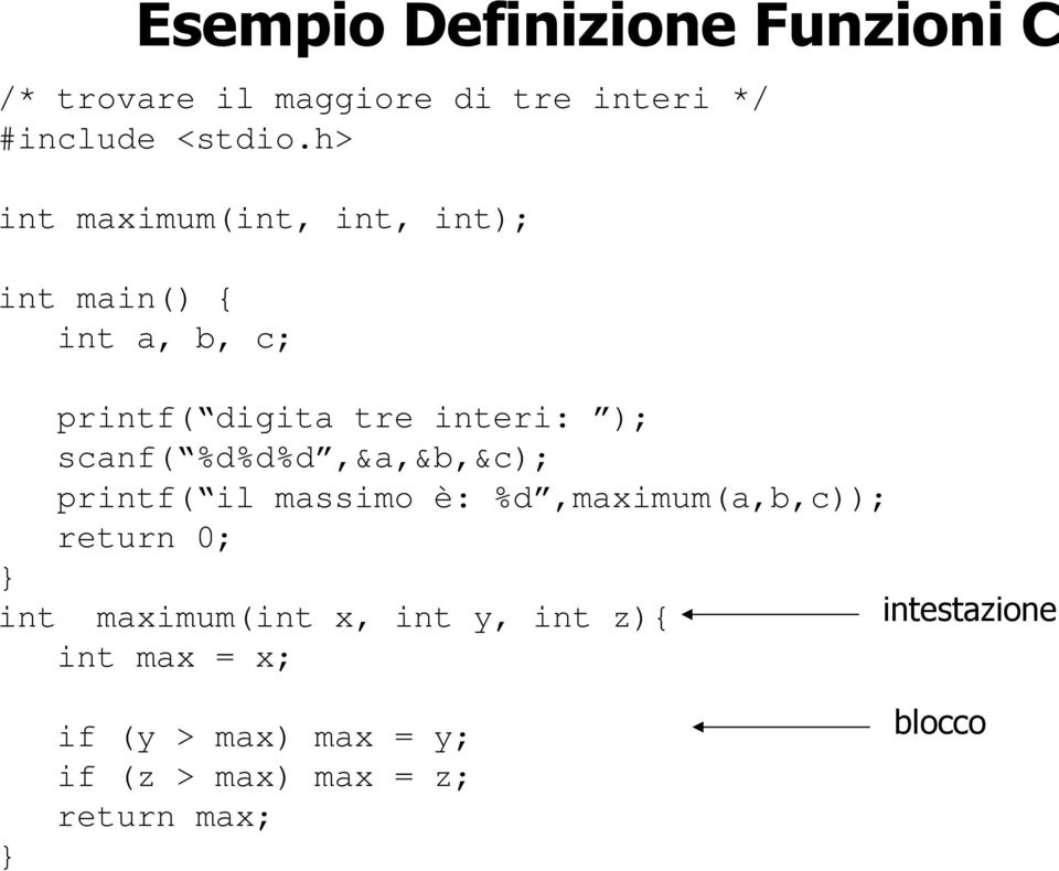 %d%d%d,&a,&b,&c); printf( il massimo è: %d,maximum(a,b,c)); return 0; int maximum(int x, int