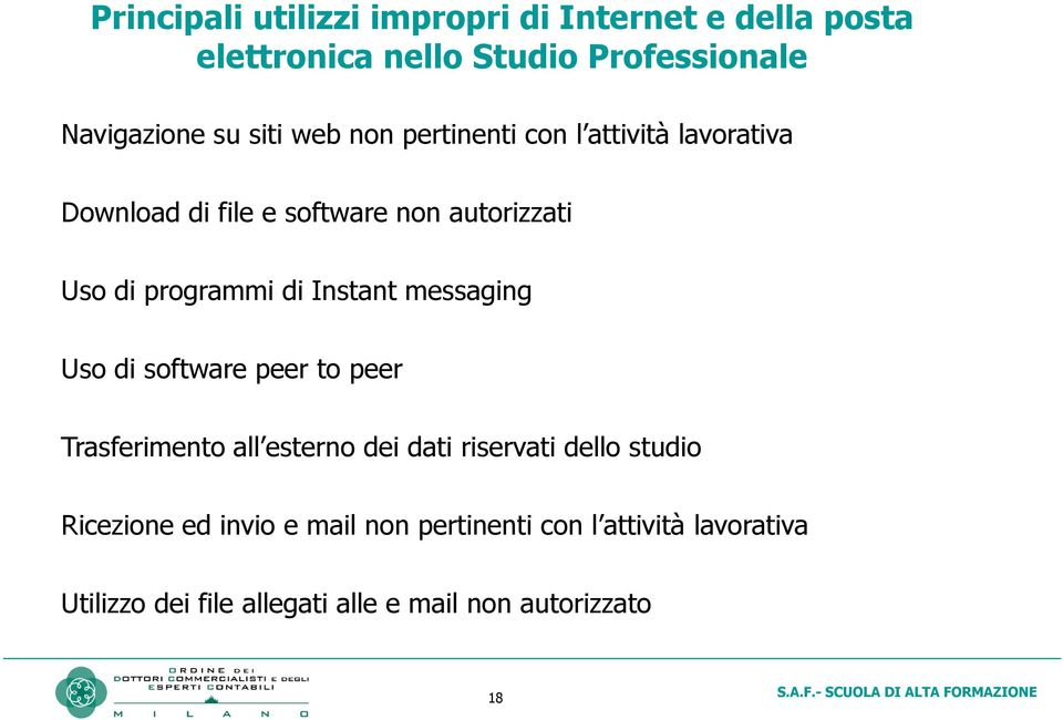di Instant messaging Uso di software peer to peer Trasferimento all esterno dei dati riservati dello studio