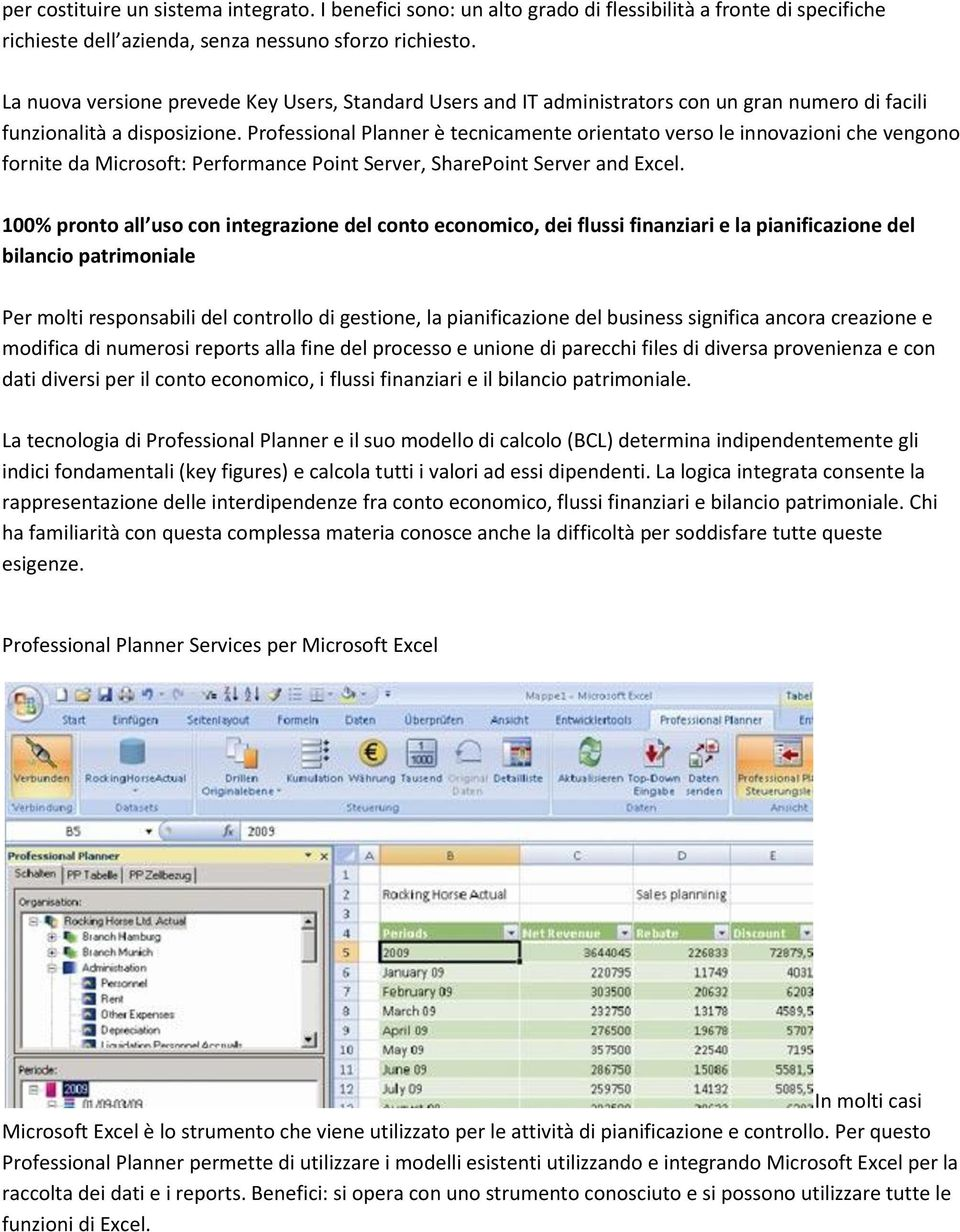 Professional Planner è tecnicamente orientato verso le innovazioni che vengono fornite da Microsoft: Performance Point Server, SharePoint Server and Excel.
