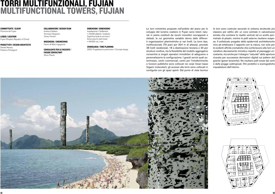 CONSULTANT Stone Panels DIMENSIONI / DIMENSIONS Insediamento / Settlement = 25.000 abitanti / residents Superficie lorda di una torre / Gross area for each tower = 96.
