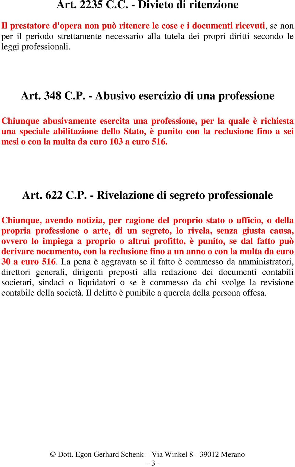professionali. Art. 348 C.P.