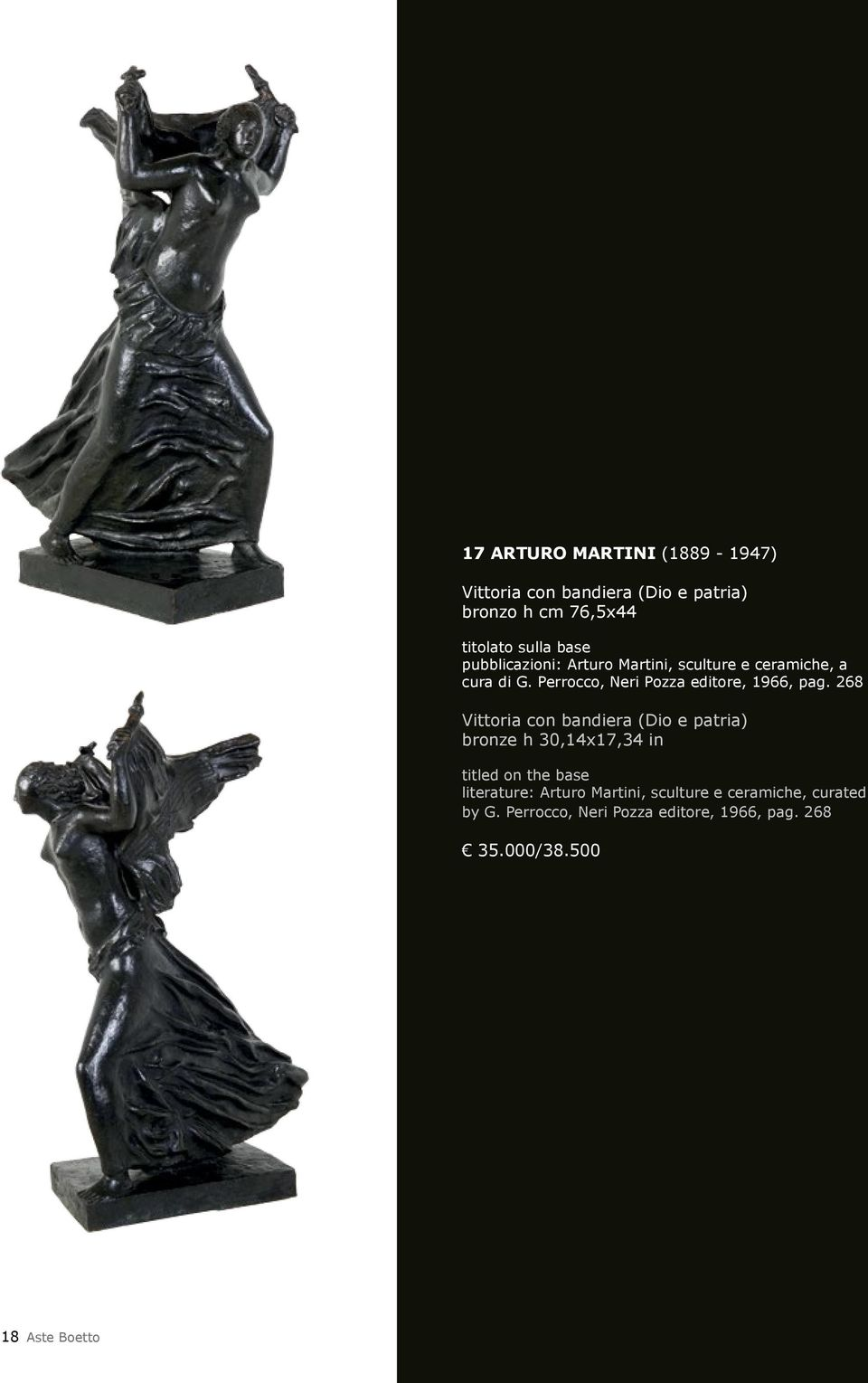 268 Vittoria con bandiera (Dio e patria) bronze h 30,14x17,34 in titled on the base literature: Arturo