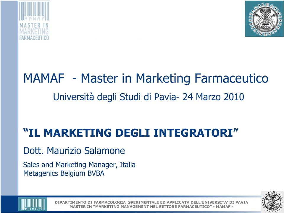 MARKETING DEGLI INTEGRATORI Dott.