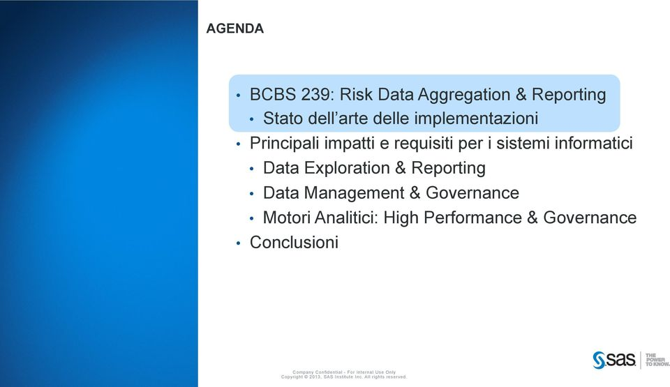 Management & Governance Motori Analitici: High Performance & Governance Conclusioni