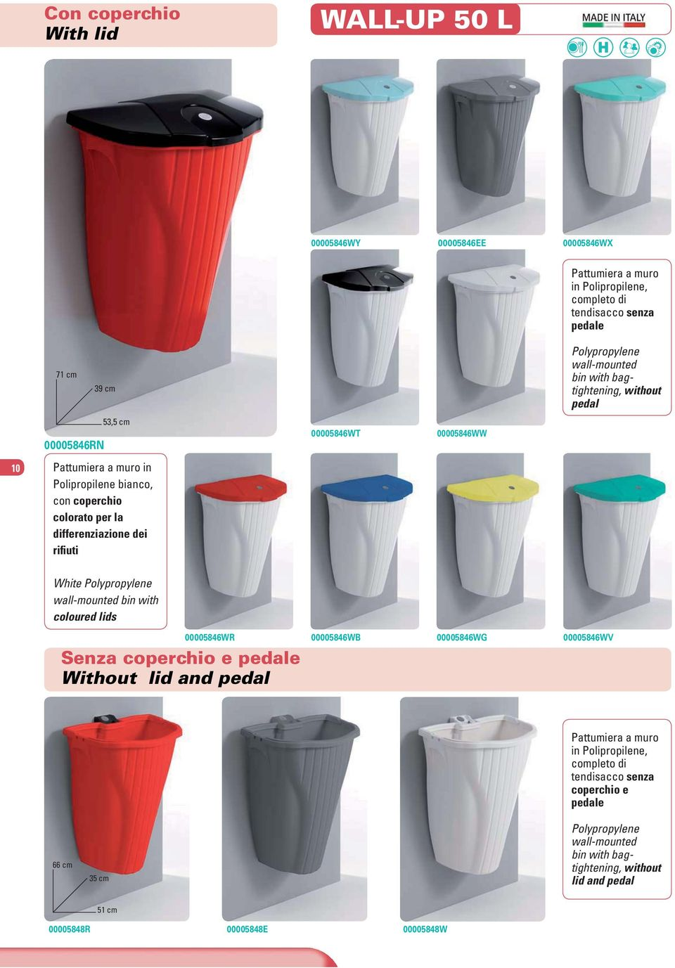 differenziazione dei rifiuti White Polypropylene wall-mounted bin with coloured lids Senza coperchio e pedale Without lid and pedal 00005846WR 00005846WB 00005846WG 00005846WV