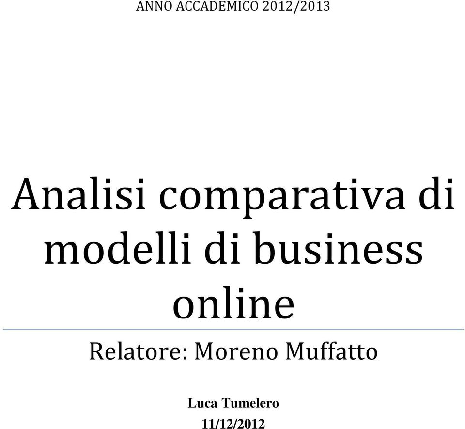 di business online Relatore:
