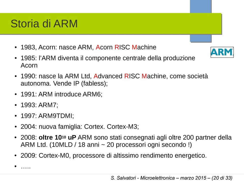 Vende IP (fabless); 1991: ARM introduce ARM6; 1993: ARM7; 1997: ARM9TDMI; 2004: nuova famiglia: Cortex.