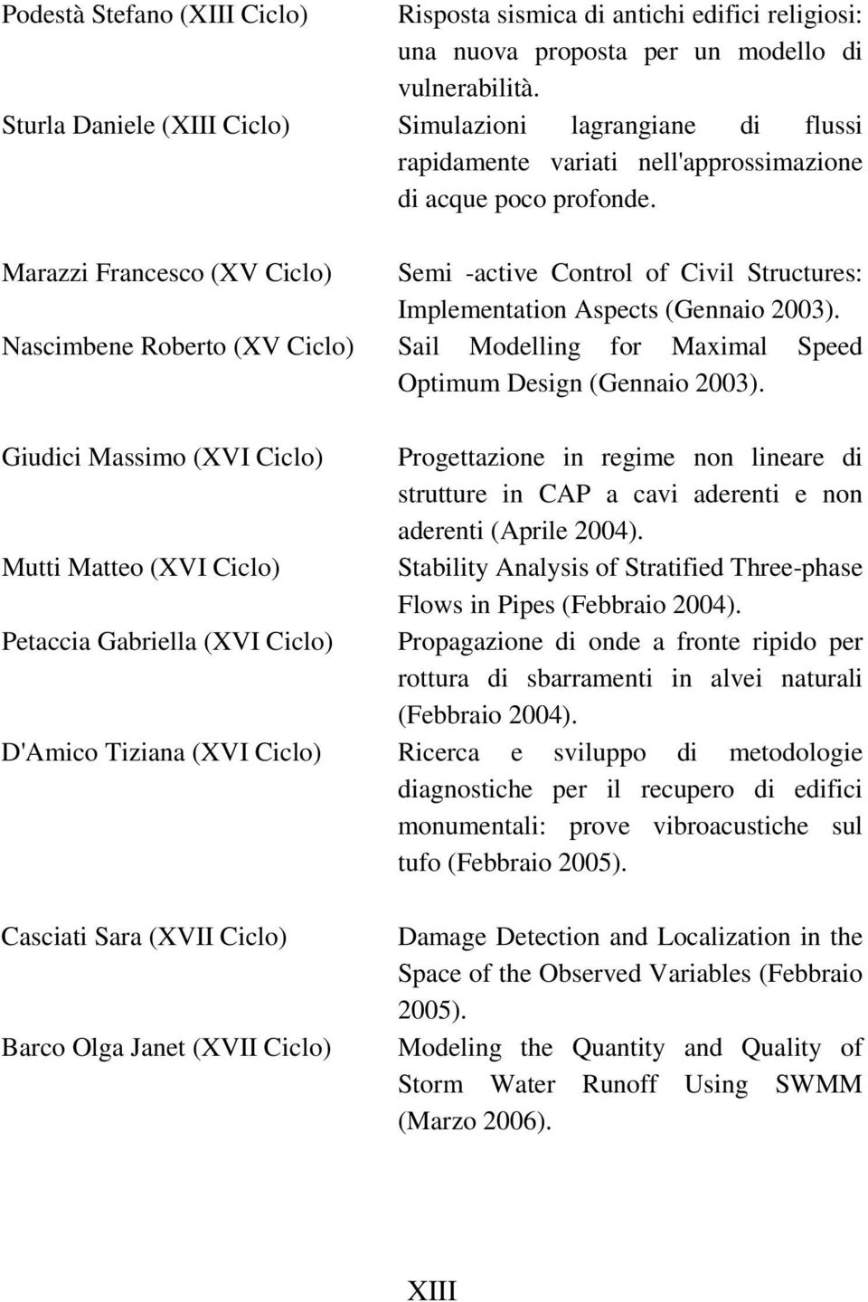 Marazzi Francesco (XV Ciclo) Semi -active Control of Civil Structures: Implementation Aspects (Gennaio 2003).