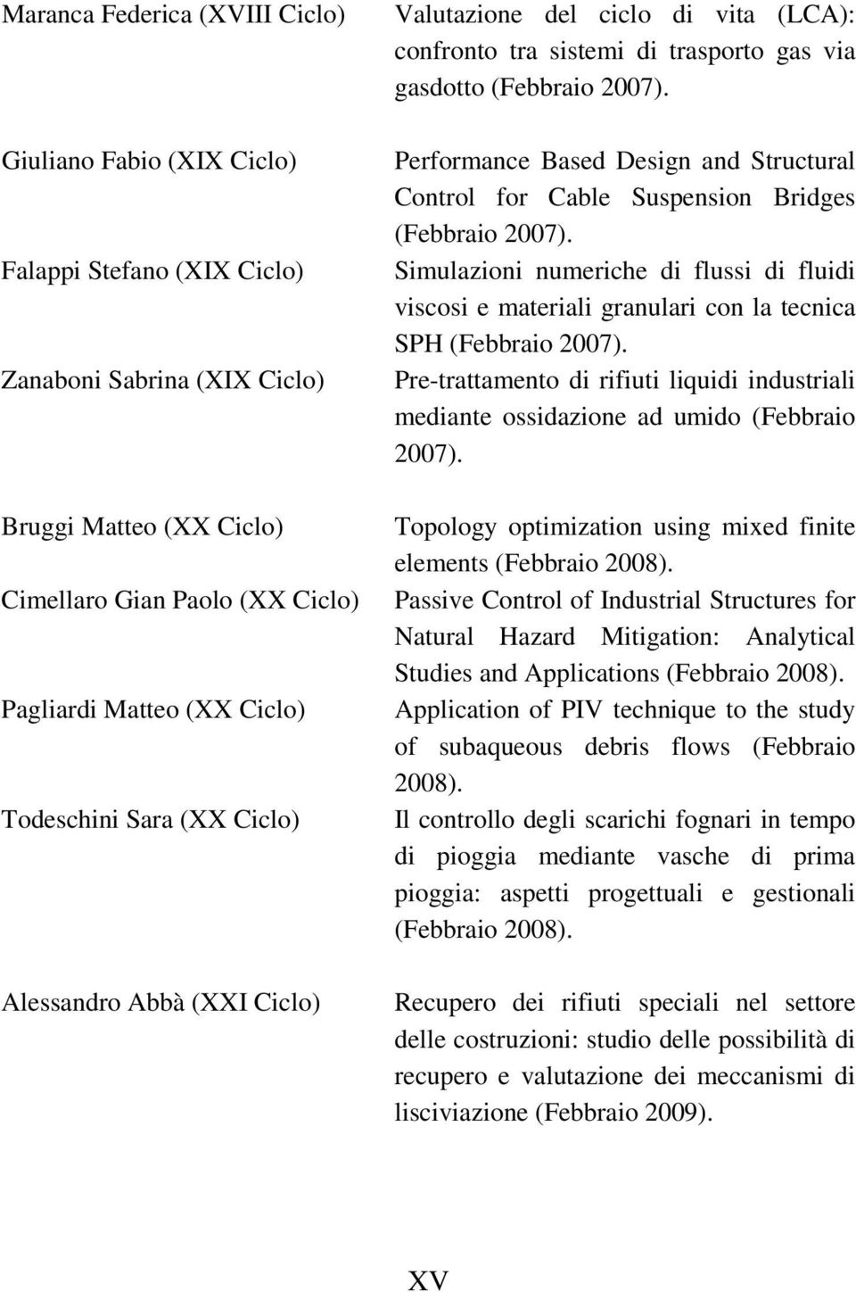 Performance Based Design and Structural Control for Cable Suspension Bridges (Febbraio 2007).