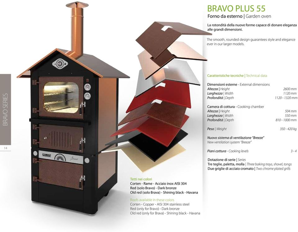 Caratteristiche tecniche Technical data BRAVO SERIES Dimensioni esterne - External dimensions Camera di cottura - Cooking chamber Peso Weight 2510 2600 mm 1120 mm 1124 1120-1325 1320 mm 504 mm 550 mm