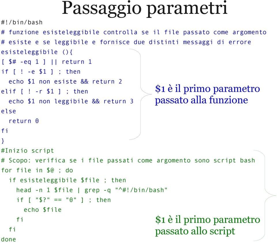 -r $1 ] ; then echo $1 non leggibile && return 3 else fi } return 0 #Inizio script # Scopo: verifica se i file passati come argomento sono script bash for file in