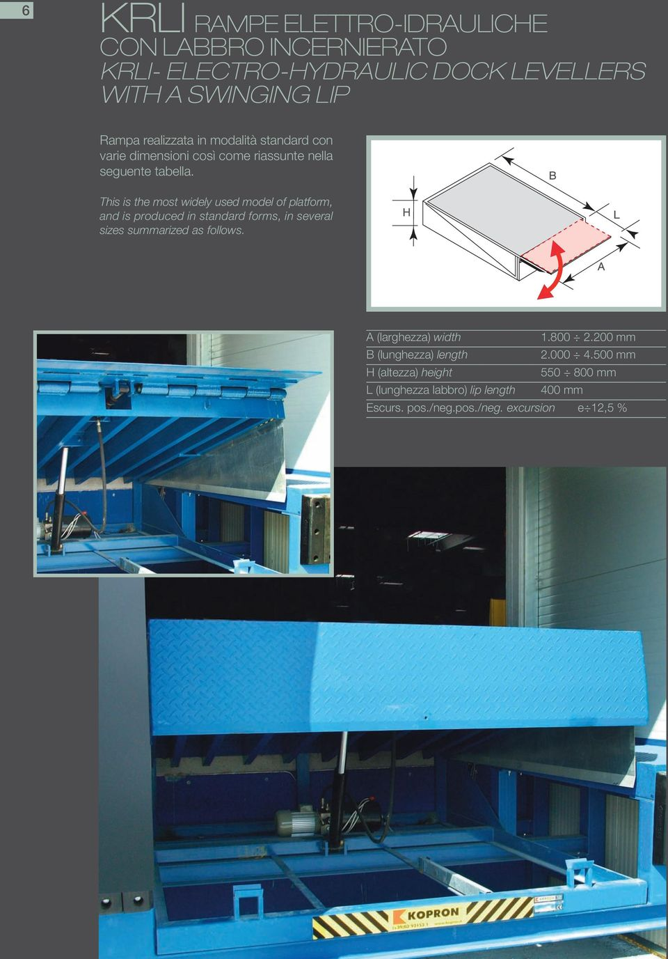 B This is the most widely used model of platform, and is produced in standard forms, in several sizes summarized as follows.