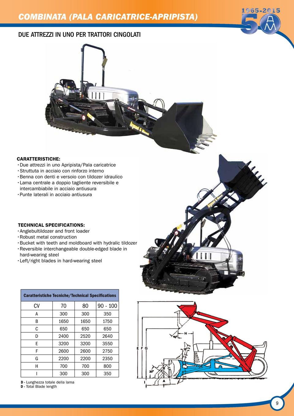 Anglebultildozer and front loader Robust metal construction Bucket with teeth and moldboard with hydralic tildozer Reversible interchangeable double-edged blade in hard-wearing steel Left/right