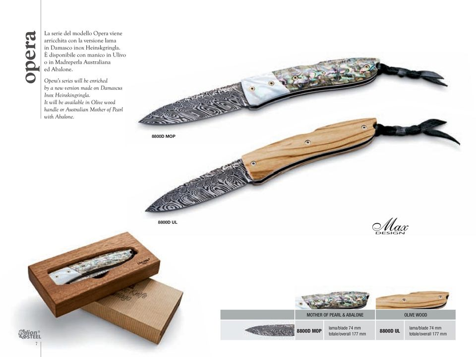 Opera s series will be enriched by a new version made on Damascus Inox Heinskingringla.