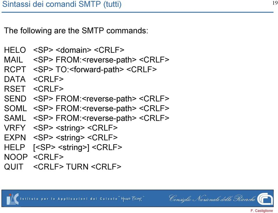 FROM:<reverse-path> <CRLF> SOML <SP> FROM:<reverse-path> <CRLF> SAML <SP> FROM:<reverse-path> <CRLF> VRFY