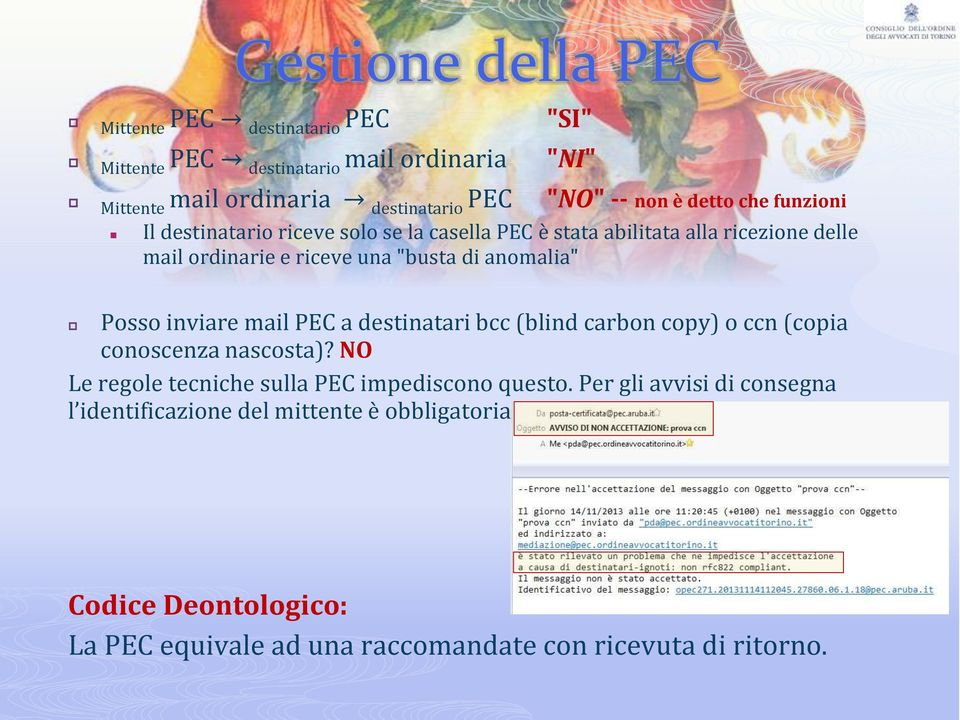 "anomalia"" Posso inviare mail PEC a destinatari bcc (blind carbon copy) o ccn (copia conoscenza nascosta)?"