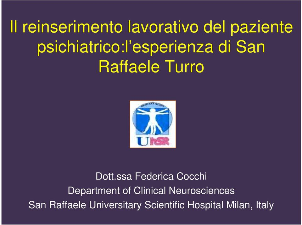 ssa Federica Cocchi Department of Clinical