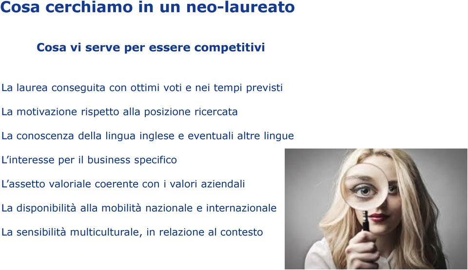eventuali altre lingue L interesse per il business specifico L assetto valoriale coerente con i valori