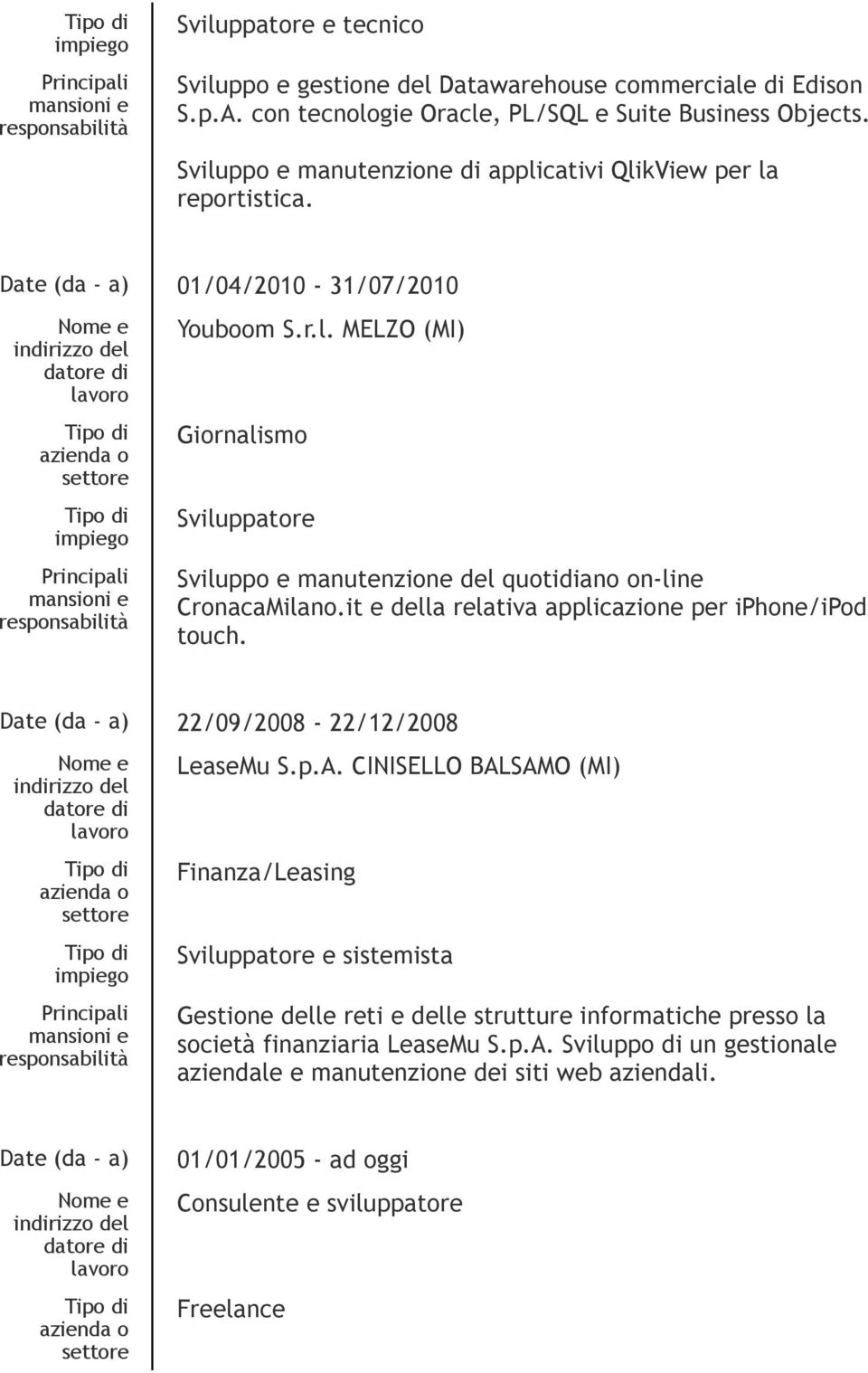 it e della relativa applicazione per iphone/ipod touch. Date (da - a) 22/09/2008-22/12/2008 LeaseMu S.p.A.