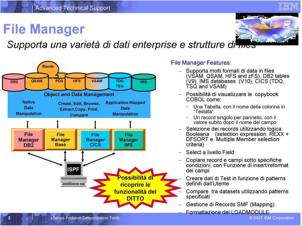 le funzionalità del DITTO File Manager Features: Supporta molti formati di data in files (VSAM, QSAM, HFS and zfs), DB2 tables (V9), IMS databases (V10), CICS (TDQ, TSQ and VSAM) Possibilità di