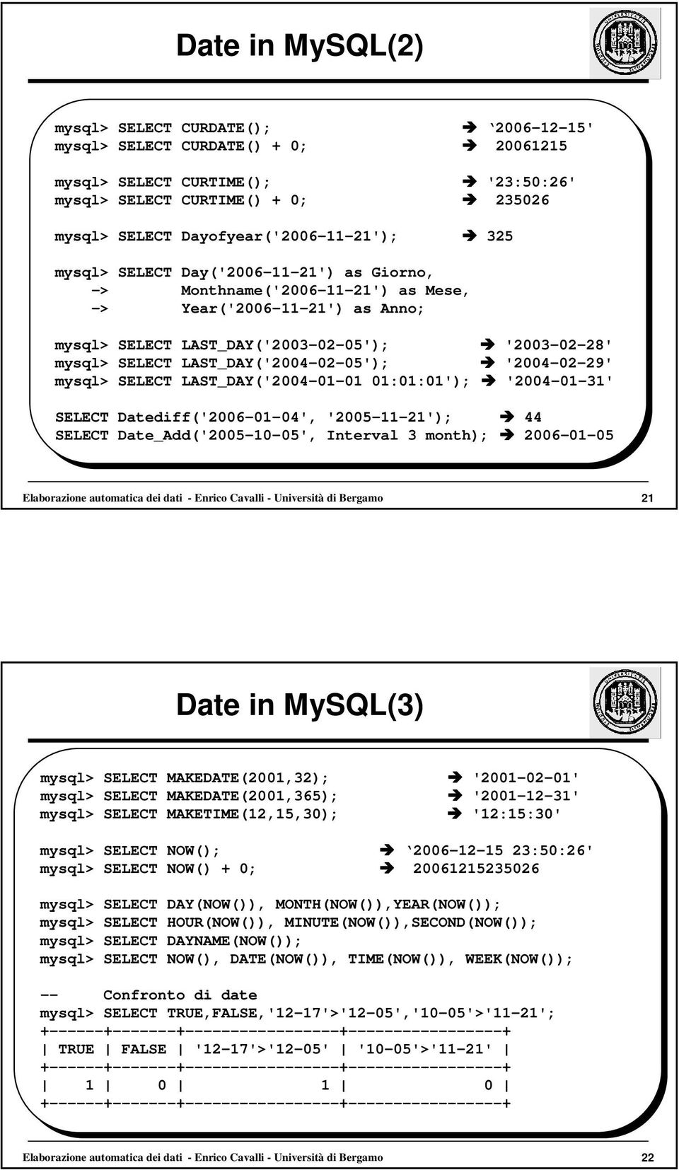 SELECT LAST_DAY('2004-02-05'); '2004-02-29' mysql> SELECT LAST_DAY('2004-01-01 01:01:01'); '2004-01-31' SELECT Datediff('2006-01-04', '2005-11-21'); 44 SELECT Date_Add('2005-10-05', Interval 3