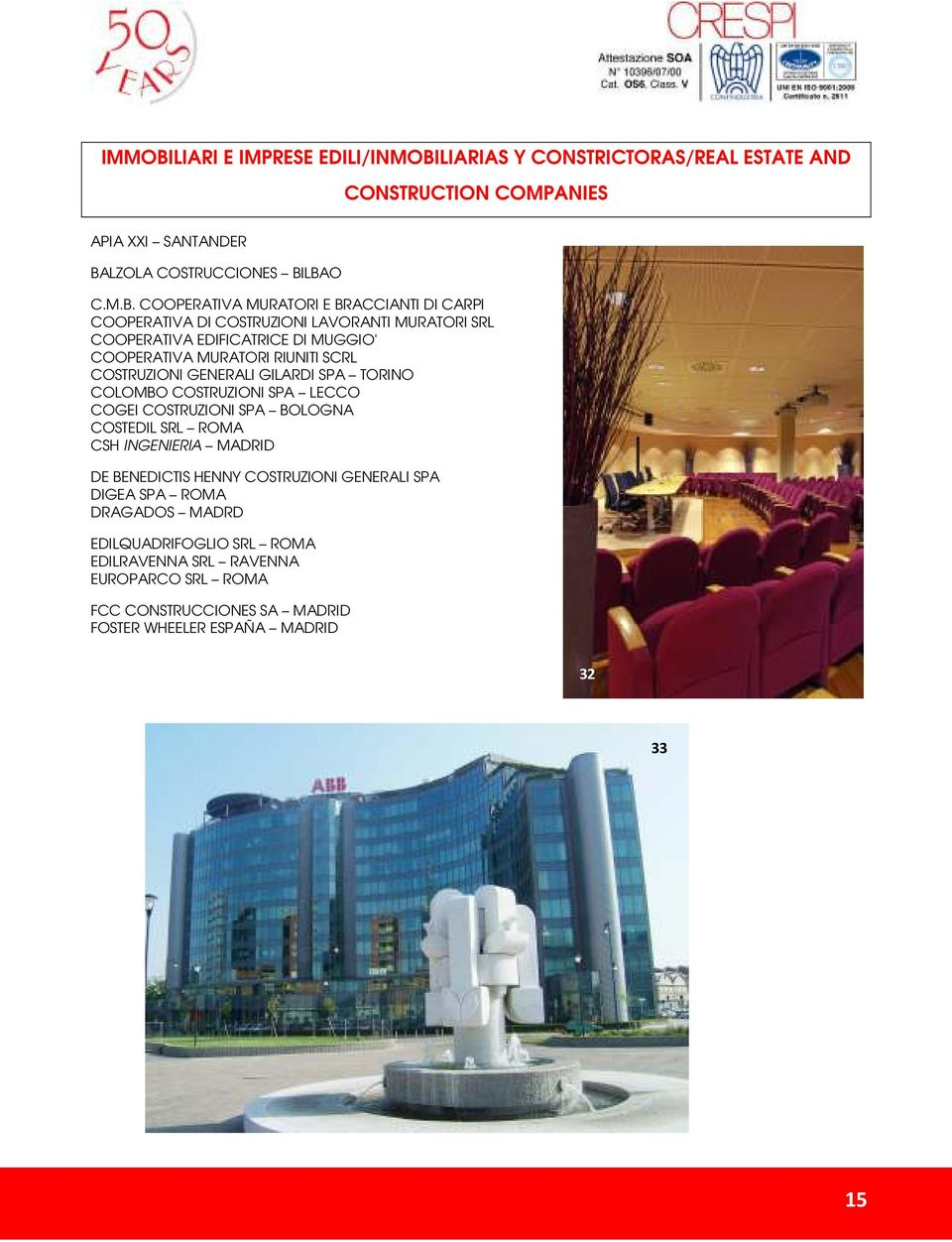LIARIAS Y CONSTRICTORAS/REAL ESTATE AND CONSTRUCTION COMPANIES APIA XXI SANTANDER BA