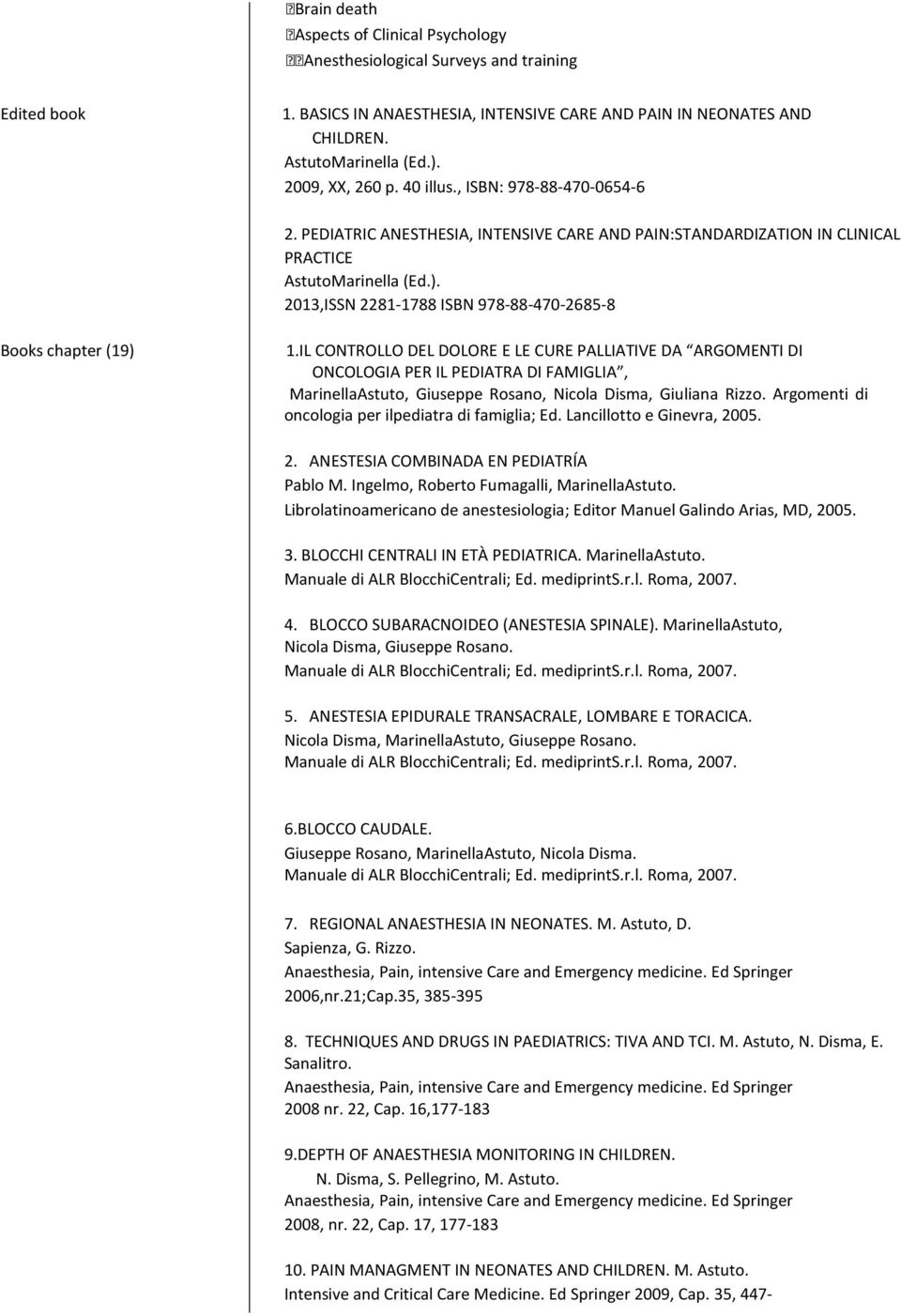2013,ISSN 2281-1788 ISBN 978-88-470-2685-8 Books chapter (19) 1.