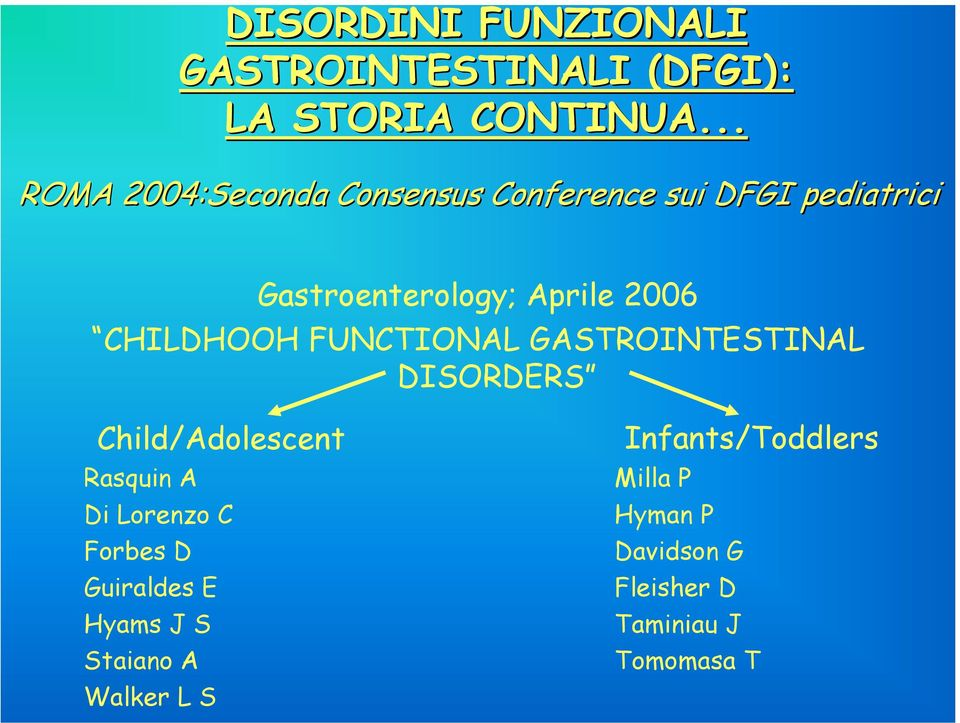 CHILDHOOH FUNCTIONAL GASTROINTESTINAL DISORDERS Child/Adolescent Rasquin A Di Lorenzo C