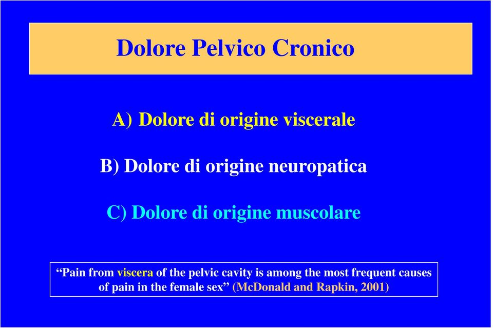 Pain from viscera of the pelvic cavity is among the most