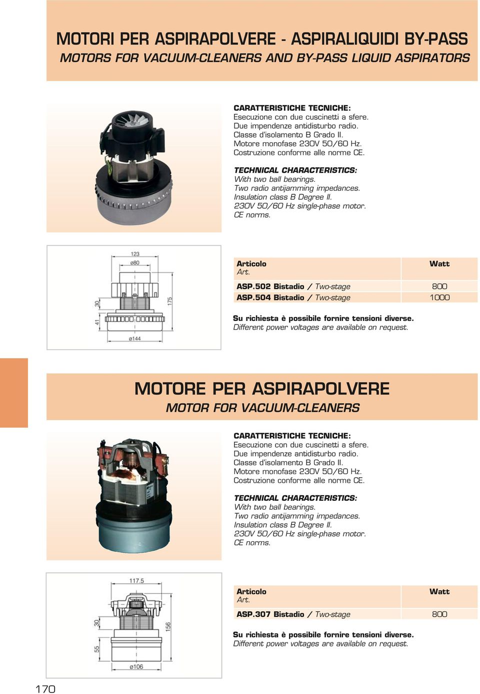 Insulation class Degree II. 230V 50/60 Hz single-phase motor. CE norms. Watt SP.502 istadio / Two-stage 800 SP.504 istadio / Two-stage 1000 Su richiesta è possibile fornire tensioni diverse.