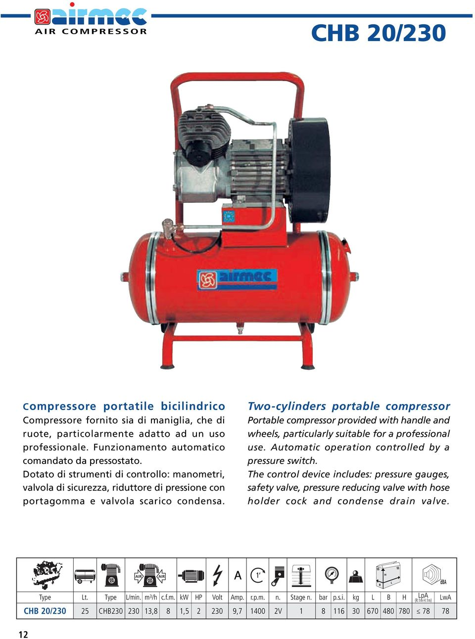 Two-cylinders portable compressor Portable compressor provided with handle and wheels, particularly suitable for a professional use. Automatic operation controlled by a pressure switch.
