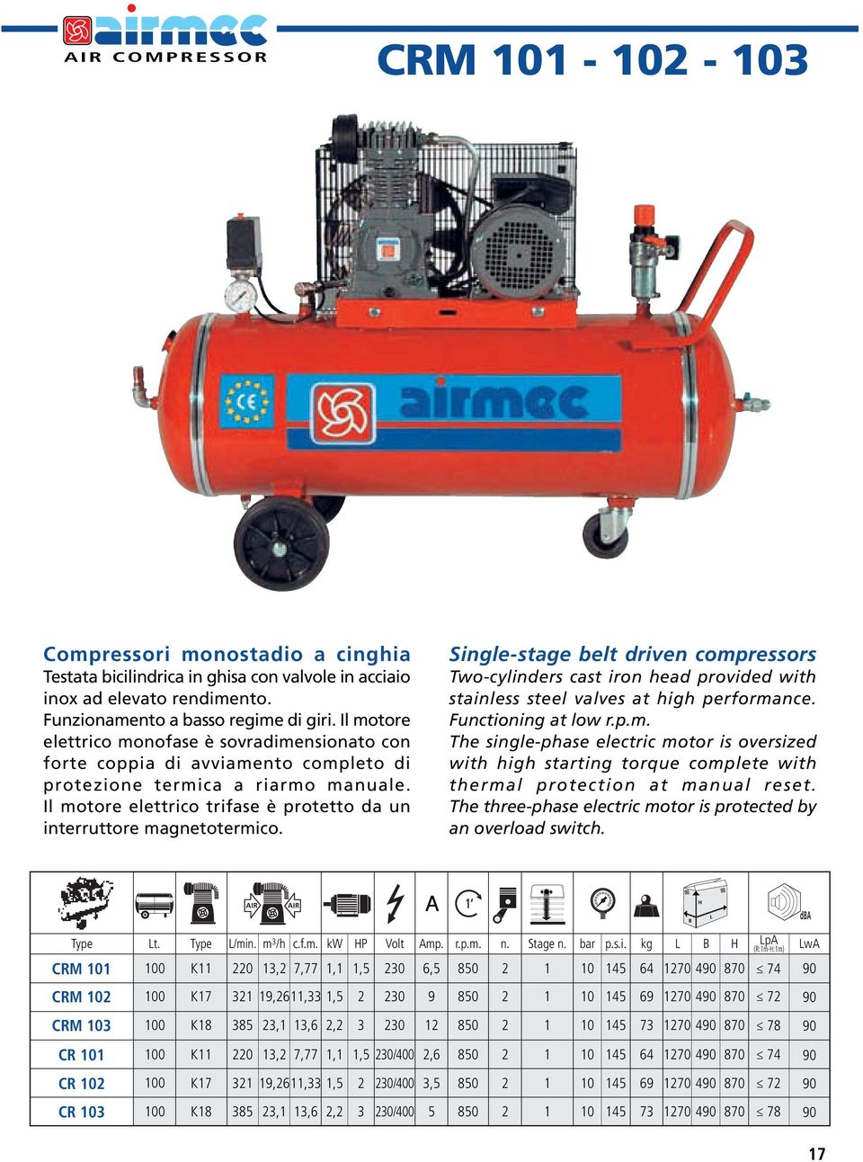 Il motore elettrico trifase è protetto da un interruttore magnetotermico. Single-stage belt driven compressors Two-cylinders cast iron head provided with stainless steel valves at high performance.