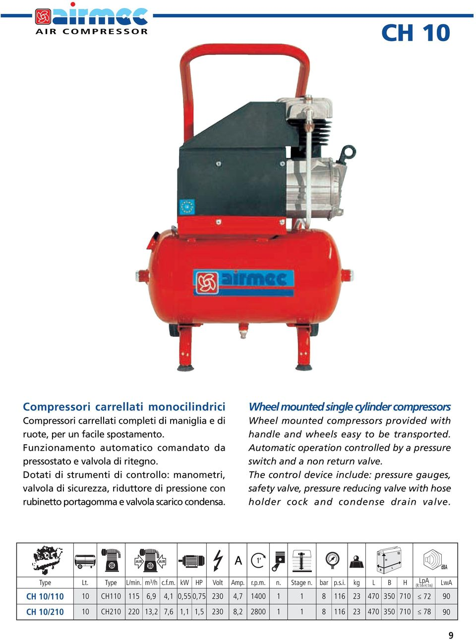 Wheel mounted single cylinder compressors Wheel mounted compressors provided with handle and wheels easy to be transported. Automatic operation controlled by a pressure switch and a non return valve.