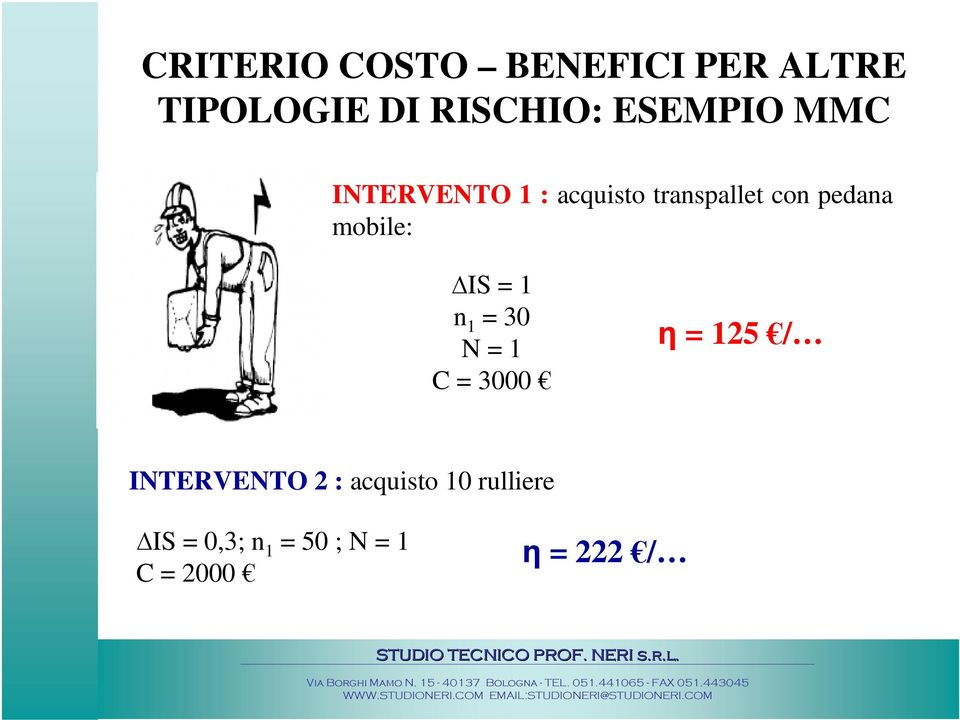 mobile: IS = 1 n 1 = 30 N = 1 C = 3000 η = 125 / INTERVENTO 2