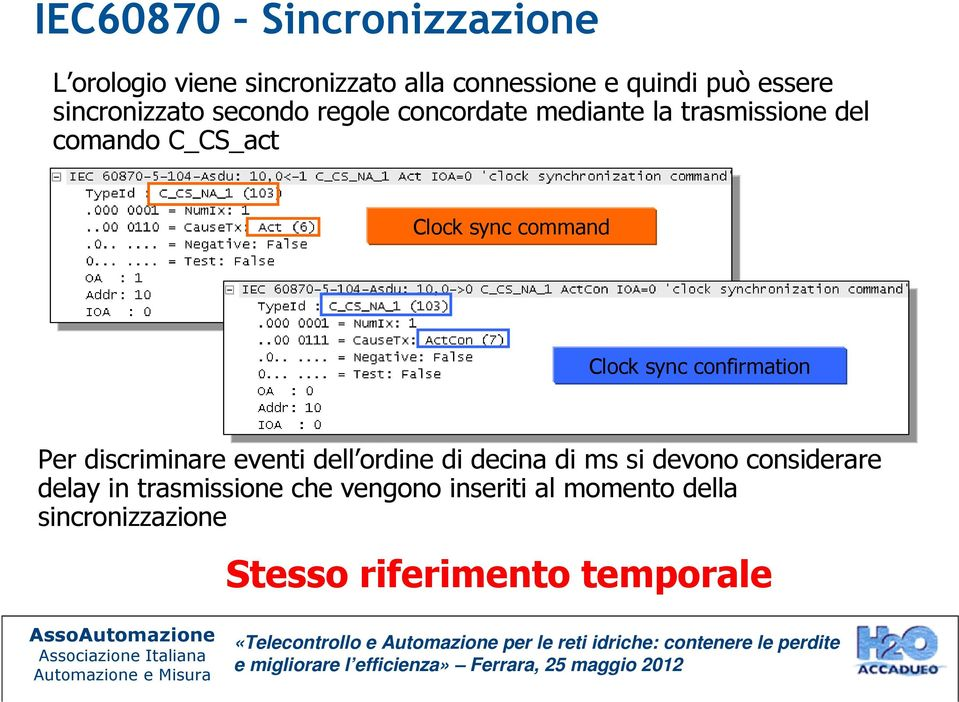 command Clock sync confirmation Per discriminare eventi dell ordine di decina di ms si devono