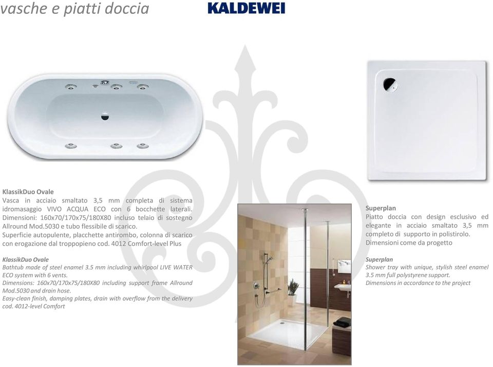 Superficie autopulente, placchette antirombo, colonna di scarico con erogazione dal troppopieno cod. 4012 Comfort-level Plus KlassikDuo Ovale Bathtub made of steel enamel 3.