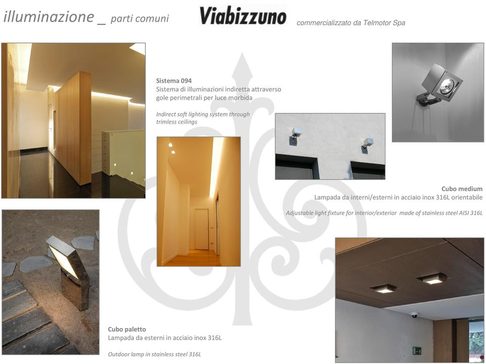 Lampada da interni/esterni in acciaio inox 316L orientabile Adjustable light fixture for interior/exterior made