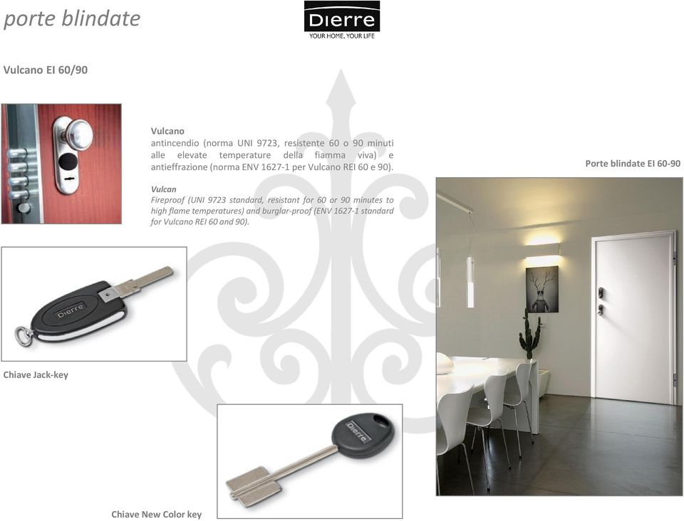 Porte blindate EI 60-90 Vulcan Fireproof (UNI 9723 standard, resistant for 60 or 90 minutes to high